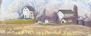 Illinois Pastels Posters - Farmstead on Woollie Poster by Jane Wilcoxson
