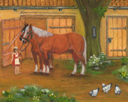 Polish Painters Paintings - Farmyard by Anna Folkartanna Maciejewska-Dyba