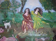 Ballet Dancers Paintings - Farmyard ballet by Judith Desrosiers