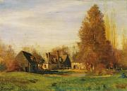 Autumn Landscape Painting Prints - Farmyard Print by Francois Louis Francais