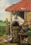Horse Stable Painting Posters - Farmyard Friends Poster by Carl Donner