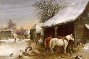 Rural Snow Scenes Painting Framed Prints - Farmyard in Winter  Framed Print by Henry Woollett