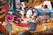 Suzanne Willis Metal Prints - Farmyard Pups Metal Print by Suzanne Willis