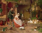 19th Century Paintings - Farmyard Scene by Jan David Cole