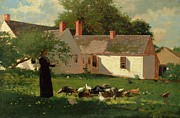 Rooster Paintings - Farmyard Scene by Winslow Homer