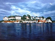 Boats In Harbor Prints - Faroy Print by Janet King