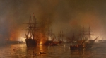Boats Paintings - Farraguts Fleet Passing the Forts Below New Orleans by MFH De Haas