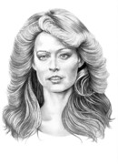 Famous People Drawings - Farrah Fawcett by Murphy Elliott