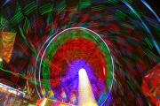 Lightning Decorations Photo Prints - Farris Wheel Crazy Light Abstract Print by James Bo Insogna