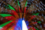 Lightning Decorations Photo Prints - Farris Wheel Light Abstract Print by James Bo Insogna