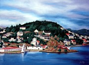 Janet King Painting Metal Prints - Farsund Badehuset Metal Print by Janet King