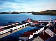 Reflection Of Buildings In Water Prints - Farsund Boathouses Print by Janet King