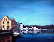 Buildings In The Harbor Painting Posters - Farsund Dock Scene I Poster by Janet King
