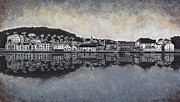 Trees Reflecting In Water Drawings Prints - Farsund Waterfront Print by Janet King