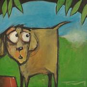 Scared Painting Originals - Farting Dog by Tim Nyberg