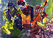 Live Jazz Quartet Art - Faruq and Skeeter by Don Thibodeaux