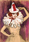 Fashion Illustration Pastels Posters - Fashion Clown Poster by Sue Halstenberg