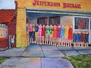 Street Scene Pastels - Fashion Line Up by Barbara Richert