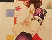 Jewelry Drawings Prints - Fashion Model Print by Michelle Miron
