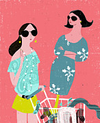 Shopping Cart Prints - Fashion Woman Holding Trolley Print by Luciano Lozano