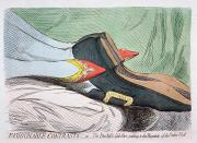 Day Bed Framed Prints - Fashionable Contrasts Framed Print by James Gillray