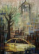 Bryant Park Painting Framed Prints - Fast City II Framed Print by Janel Bragg
