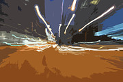 Lights Digital Art Originals - Fast City Lights by Phill Petrovic