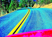 Double Yellow Lines Posters - Fast Ferrari above Tahoe Poster by Don Struke
