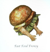 Sculptures Mixed Media Prints - Fast Food Frenzy Print by Betty OHare
