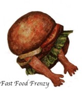 Cartoonish Art - Fast food frenzy by Betty OHare