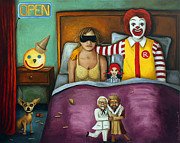 Humor Painting Prints - Fast Food Nightmare 2 different tones Print by Leah Saulnier The Painting Maniac