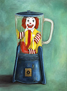 Hamburger Painting Metal Prints - Fast Food Nightmare 2 The Happy Meal Metal Print by Leah Saulnier The Painting Maniac