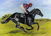 Jockey Paintings - Fast by Jana Goode