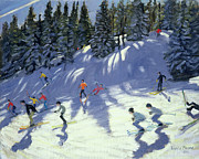 Skiing Paintings - Fast Run by Andrew Macara