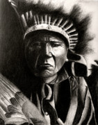 Native Americans Drawings Posters - Fast Thunder Poster by Wade Clark