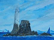 Cliffs Paintings - Fastnet Rock Lighthouse. by Conor Murphy