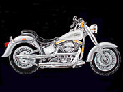 Motorcycle Pastels Posters - Fat Boy Poster by Ginna Viveros