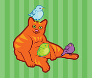 Kitty Digital Art - Fat Cat and Birds by Mary Ogle