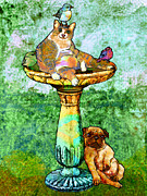 Birdbath Posters - Fat Cat and Pug Poster by Mary Ogle