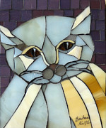 Cats Glass Art Metal Prints - Fat Cat Metal Print by Barbara Benson Keith