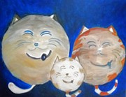 Gray Cat Paintings - Fat Cat Family by Marian Hebert