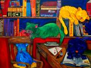Books Posters - Fat Cats In the Library Poster by Patti Schermerhorn