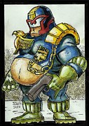 Stallone Paintings - Fat Judge dredd by Jesus  Nazarenuz