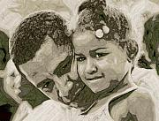 Sasha-obama Posters - Father and Daughter Poster by LeeAnn Alexander