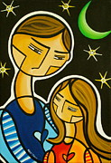 Moon Paintings - Father and Daughter by Mary Tere Perez