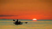 Kayak Originals - Father and Daughter on Kayak at Sunset by Julius Reque