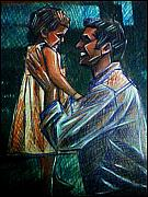 Training Mixed Media Prints - Father and Daughter Print by Paulo Zerbato