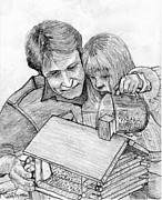 Feeding Drawings Posters - Father and Daughter Pencil Portrait Poster by Romy Galicia