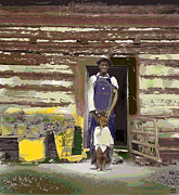 Log Cabin Mixed Media Prints - Father and His Son Print by Charles Shoup