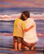 Beach Scene Painting Originals - Father and Son at the beach by Tricia Hennessey